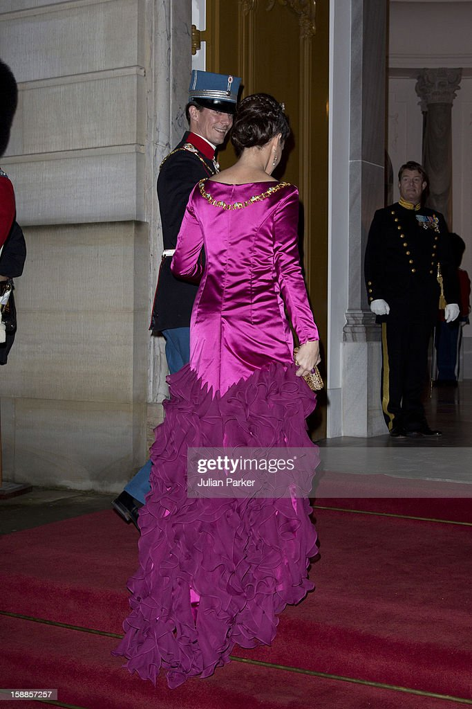 Prince Joachim, and Princess Marie of Denmark arrive at a New Year's Banquet hosted by Queen Margrethe of Denmark, at Christian VII's Palace, Amalienborg Palace on January 1, 2013 in Copenhagen, Denmark.