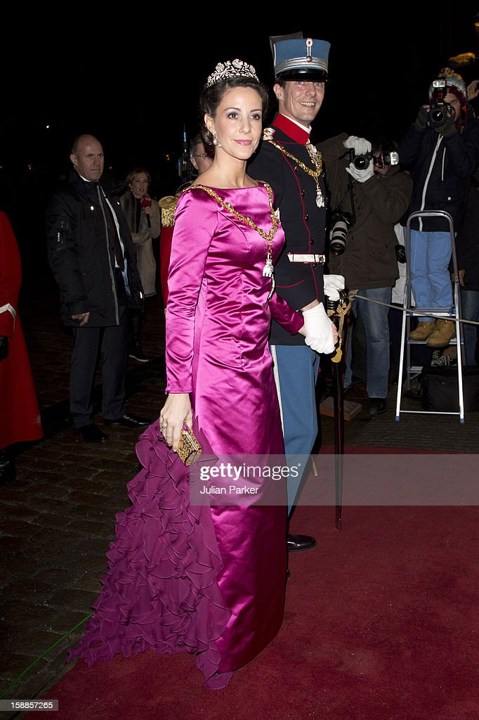 Prince Joachim, and <a gi-track='captionPersonalityLinkClicked' href=/galleries/search?phrase=Princess+Marie+of+Denmark&family=editorial&specificpeople=5611388 ng-click='$event.stopPropagation()'>Princess Marie of Denmark</a> arrive at a New Year's Banquet hosted by Queen Margrethe of Denmark, at Christian VII's Palace, Amalienborg Palace on January 1, 2013 in Copenhagen, Denmark.