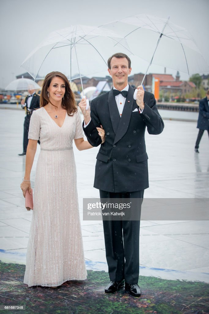 Prince Joachim and Princess Marie of Denmark arrive at the Opera House on the ocassion of the celebration of King Harald and Queen Sonja of Norway 80th birthdays on May 10, 2017 in Oslo, Norway.