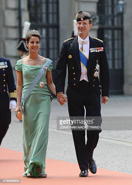 Prince Joachim and Princess Marie of Denmark arrive for the wedding of Sweden's Crown Prince Carl Philip and Sofia Hellqvist at Stockholm Palace on...