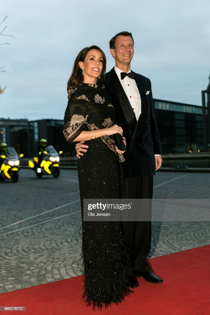 Prince Joachim and Princess Marie of Denmark arrive to the visiting Royal Belgian couples return arragenemt at the Black Diamond on March 29, 2017 in Copenhagen, Denmark. This event completes King Philippe's and Queen Mathilde's 2 days state visit to Denmark.