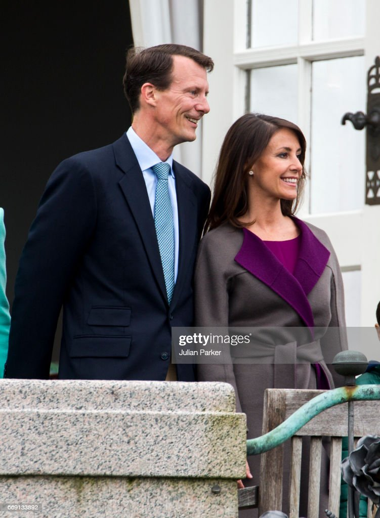 Prince Joachim, and Princess Marie of Denmark, at Queen Margrethe of Denmark's 77th Birthday celebrations, at Marselisborg Palace on April 16, 2017 in Aarhus, Denmark.