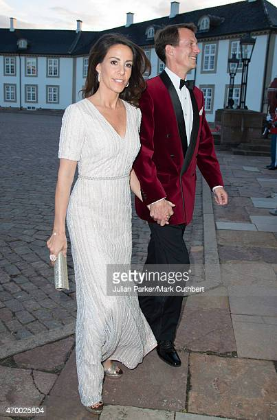Prince Joachim and Princess Marie of Denmark attend a Gala Dinner at Fredensborg Palace on the evening of Queen Margrethe II of Denmark's 75th...