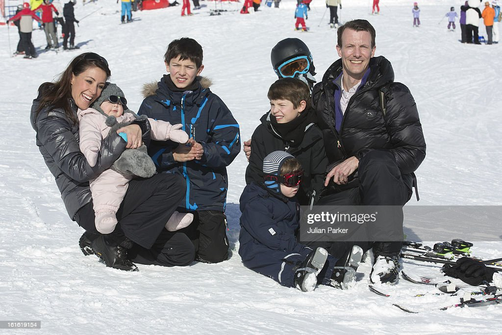 Prince Joachim and Princess Marie of Denmark pose with their children Princess Athena and Prince Henrik and Prince Joachim's two sons Prince Nikolai and Prince Felix during their annual skiing holiday on February 13, 2013 in Villars-sur-Ollon, Switzerland.