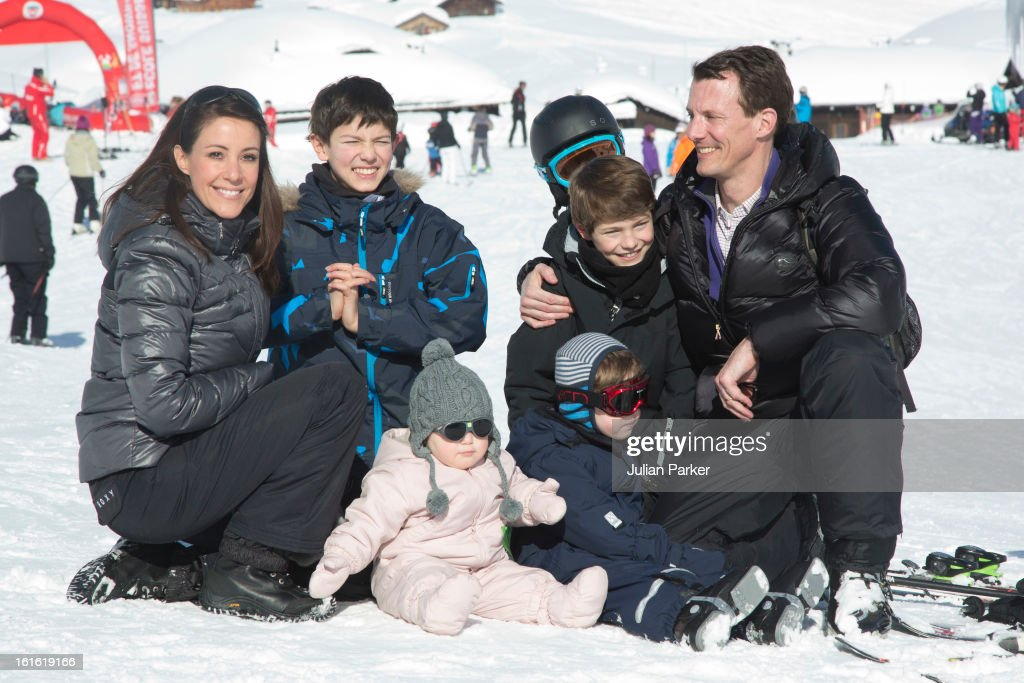 Prince Joachim and <a gi-track='captionPersonalityLinkClicked' href=/galleries/search?phrase=Princess+Marie+of+Denmark&family=editorial&specificpeople=5611388 ng-click='$event.stopPropagation()'>Princess Marie of Denmark</a> pose with their children Princess Athena and Prince Henrik and Prince Joachim's two sons Prince Nikolai and Prince Felix during their annual skiing holiday on February 13, 2013 in Villars-sur-Ollon, Switzerland.
