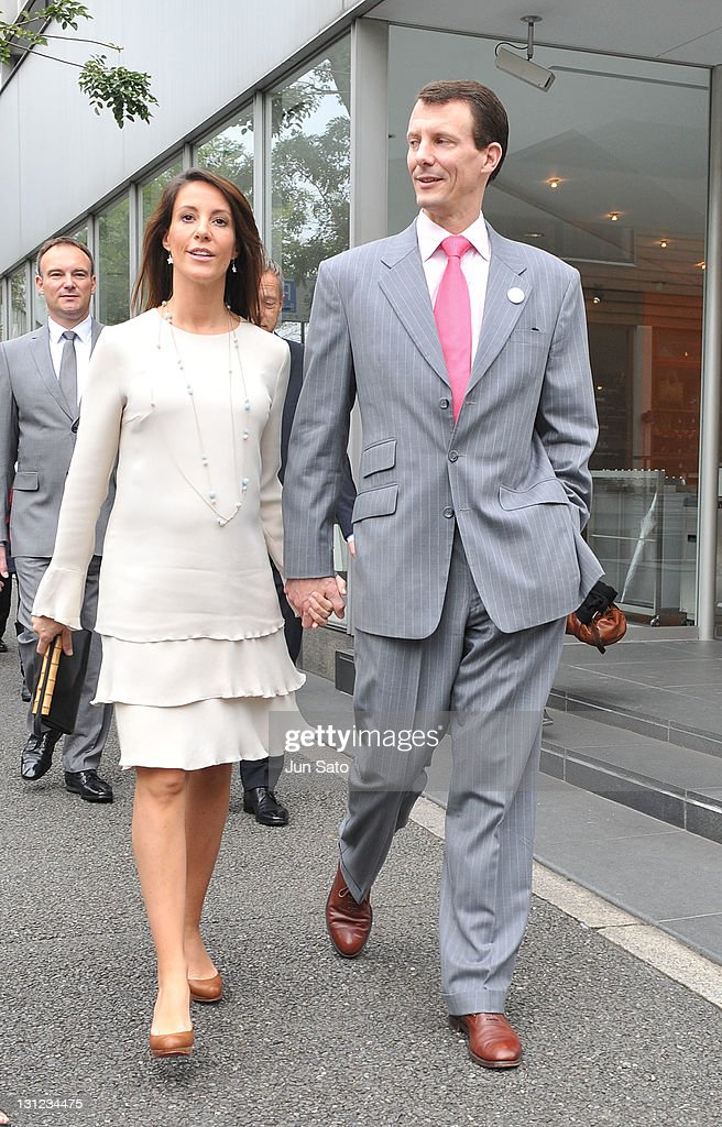 Prince Joachim and Princess Marie of Denmark walk along a sidewalk in Daikanyama on November 3, 2011 in Tokyo, Japan.