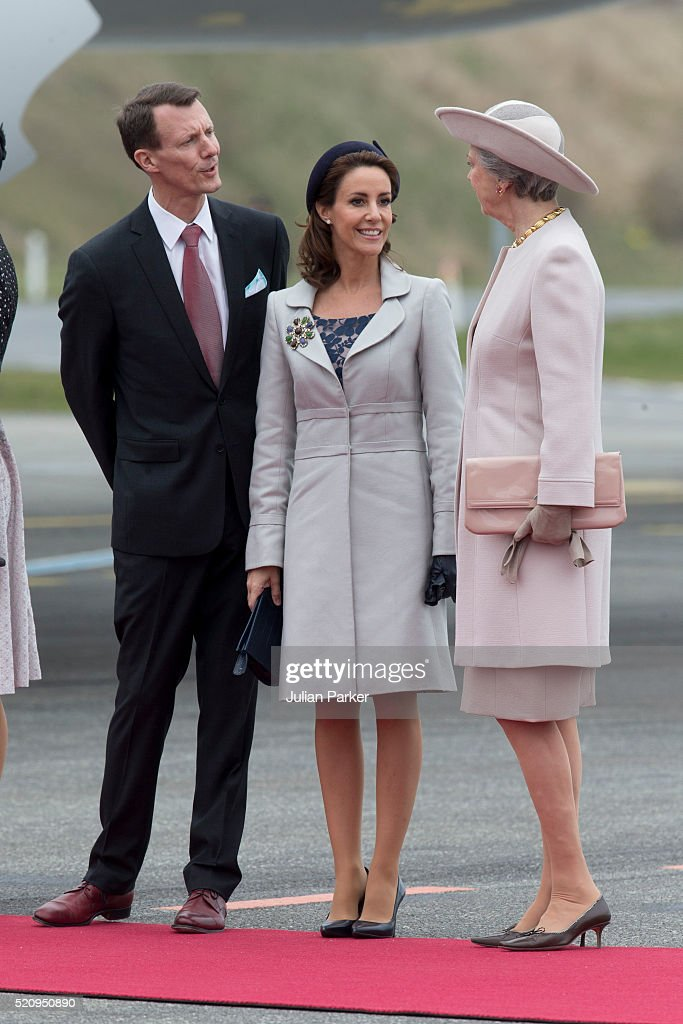 Prince Joachim, and Princess Marie of Denmark, with Princess Benedicte of Denmark, at Copenhagen Airport, for the arrival of The President, and his wife for the State visit of the President of The United Mexican States, President Enrique Pena Nieto, and his wife Angelica Rivera to Denmark on April 13, 2016 in Copenhagen, Denmark.