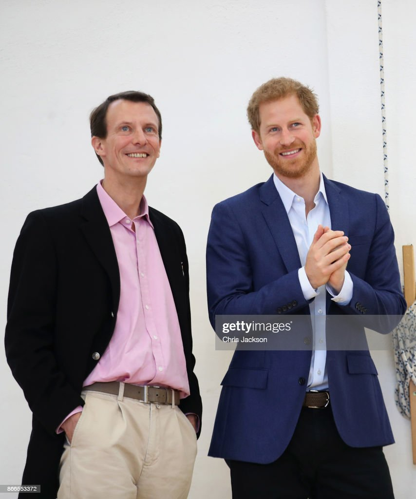Prince Joachim of Denmark (L) and Prince Harry (R) are seen at the Danish Veteran Centre on October 26, 2017 in Copenhagen, Denmark.