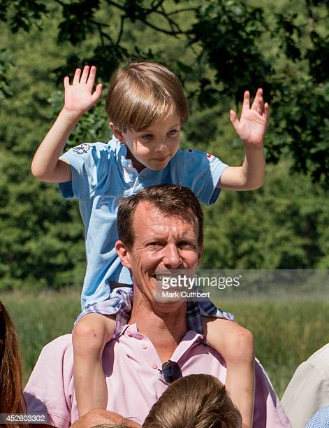 Prince Joachim of Denmark and Prince Henrik of Denmark attend the annual Summer photo call for the Royal Danish family at Grasten Castle on July 24...