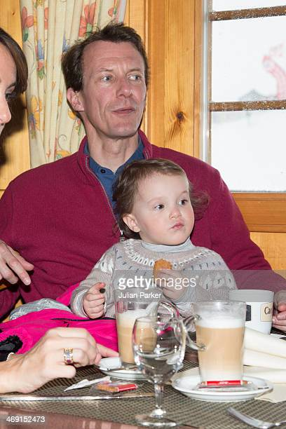Prince Joachim of Denmark and Princess Athena pose during their annual winter family holiday photocall on February 13 2014 in VillarssurOllon...