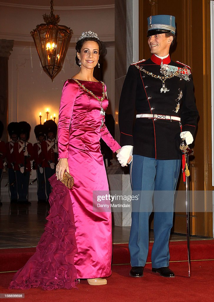 Prince Joachim of Denmark and Princess Marie Agathe Odile of Denmark arrive at a New Year's Banquet hosted by Queen Margrethe of Denmark at Christian VII's Palace on January 1, 2013 in Copenhagen, Denmark.