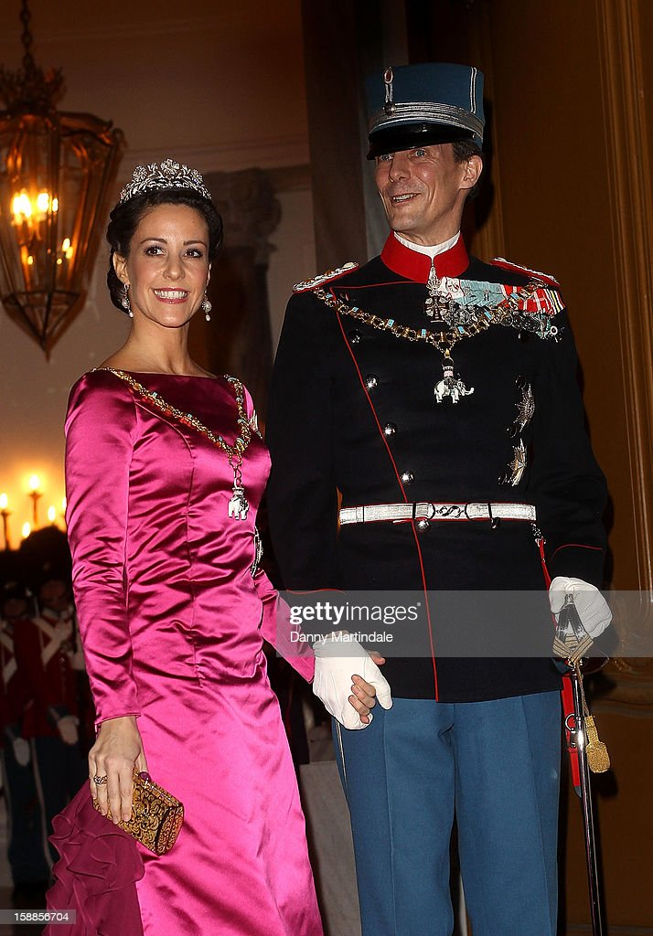 <a gi-track='captionPersonalityLinkClicked' href=/galleries/search?phrase=Prince+Joachim+of+Denmark&family=editorial&specificpeople=160198 ng-click='$event.stopPropagation()'>Prince Joachim of Denmark</a> and Princess Marie Agathe Odile of Denmark arrive at a New Year's Banquet hosted by Queen Margrethe of Denmark at Christian VII's Palace on January 1, 2013 in Copenhagen, Denmark.