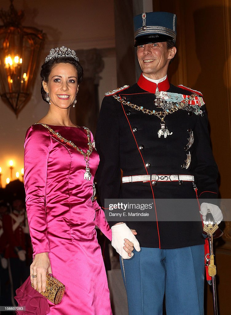 <a gi-track='captionPersonalityLinkClicked' href=/galleries/search?phrase=Prince+Joachim+of+Denmark&family=editorial&specificpeople=160198 ng-click='$event.stopPropagation()'>Prince Joachim of Denmark</a> and Princess Marie Agathe Odile of Denmark arrives at a New Year's Banquet hosted by Queen Margrethe of Denmark at Christian VII's Palace on January 1, 2013 in Copenhagen, Denmark.