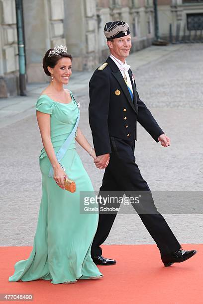 Prince Joachim of Denmark and Princess Marie Agathe of Denmark attend the royal wedding of Prince Carl Philip of Sweden and Sofia Hellqvist at The...
