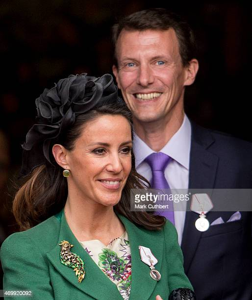 Prince Joachim of Denmark and Princess Marie of Denmark leave the Town Hall after lunch during festivities for the 75th birthday of Queen Margrethe...