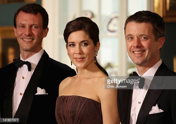 Prince Joachim of Denmark Crown Princess Mary of Denmark and Crown Prince Frederik of Denmark take part in a receiving line ahead of an official...