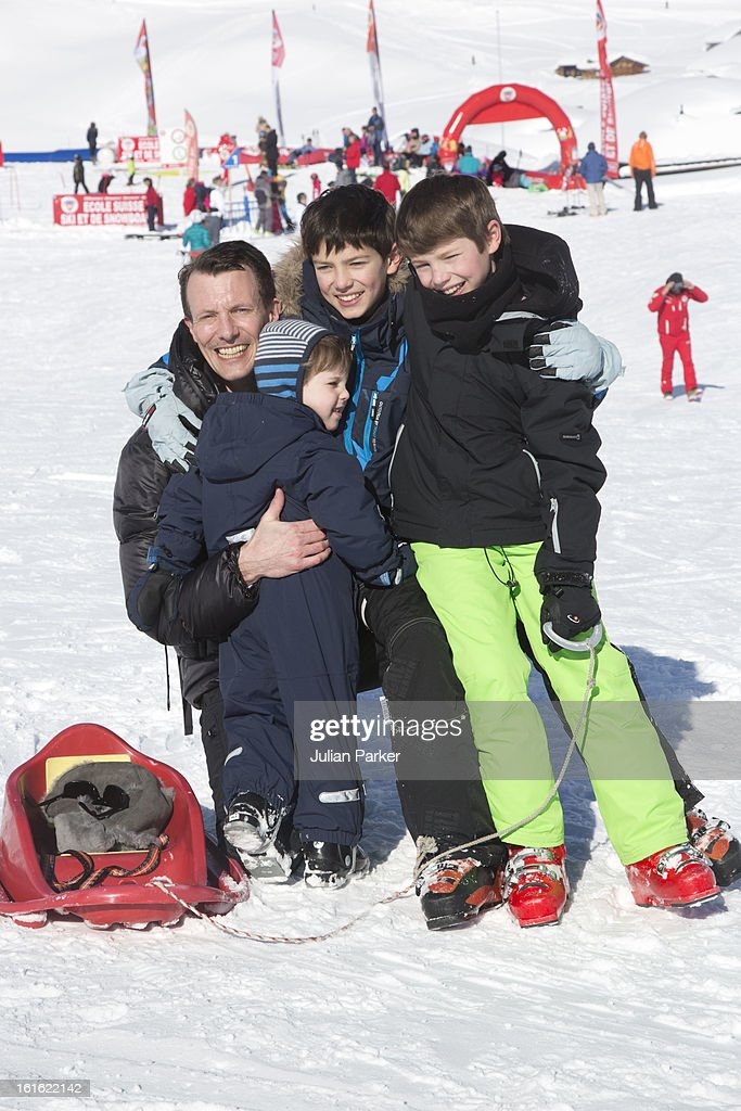 Prince Joachim of Denmark poses with his son's Prince Nikolai, Prince Felix and Prince Henrik during an annual family skiing holiday on February 13, 2013 in Villars-sur-Ollon, Switzerland.