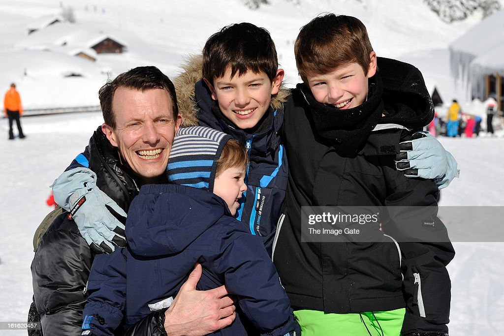 <a gi-track='captionPersonalityLinkClicked' href=/galleries/search?phrase=Prince+Joachim+of+Denmark&family=editorial&specificpeople=160198 ng-click='$event.stopPropagation()'>Prince Joachim of Denmark</a>, <a gi-track='captionPersonalityLinkClicked' href=/galleries/search?phrase=Prince+Henrik+of+Denmark+-+Born+2009&family=editorial&specificpeople=171788 ng-click='$event.stopPropagation()'>Prince Henrik of Denmark</a>, Prince Nikolai of Denmark and <a gi-track='captionPersonalityLinkClicked' href=/galleries/search?phrase=Prince+Felix+of+Denmark&family=editorial&specificpeople=2084953 ng-click='$event.stopPropagation()'>Prince Felix of Denmark</a> meet the press, whilst on skiing holiday in Villars on February 13, 2013 in Villars-sur-Ollon, Switzerland.