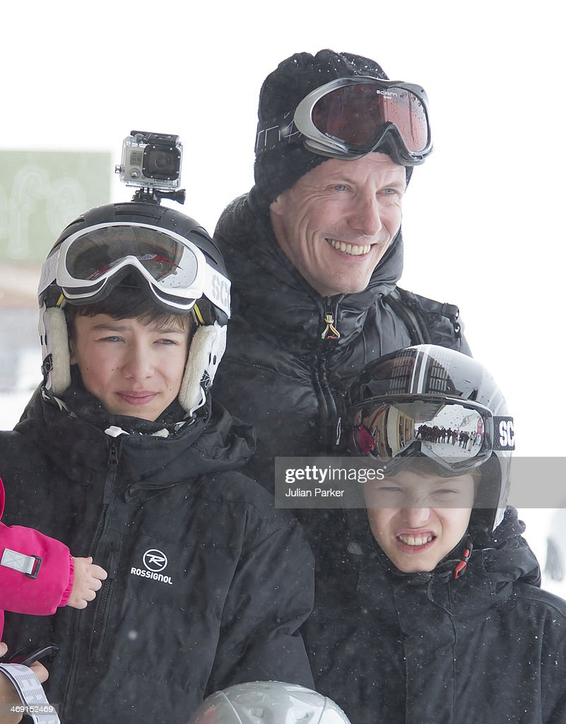 Prince Joachim of Denmark, Prince Nikolai and Prince Felix pose during their annual winter family holiday photocall on February 13, 2014 in Villars-sur-Ollon, Switzerland.