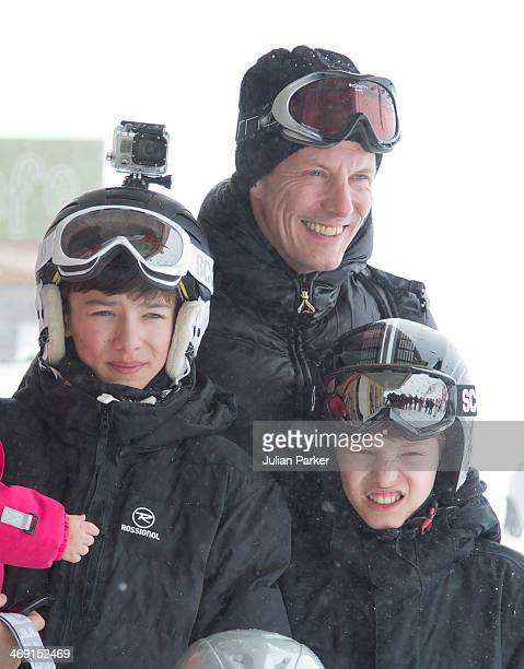 Prince Joachim of Denmark Prince Nikolai and Prince Felix pose during their annual winter family holiday photocall on February 13 2014 in...