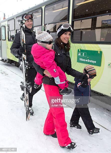 Prince Joachim of Denmark Princess Marie of Denmark Princess Athena and Prince Henrik pose during their annual winter family holiday photocall on...