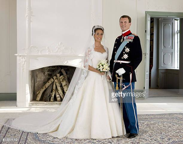 Prince Joachim of Denmark Queen Margrethe's youngest son poses with his bride French Marie Cavallier now Princesss Marie of Denmark in this official...