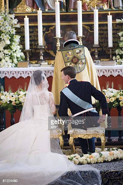 Prince Joachim of Denmark Queen Margrethe's youngest son receives his bride to be French Miss Marie Cavallier on May 24 2008 in Moegeltoender Church...