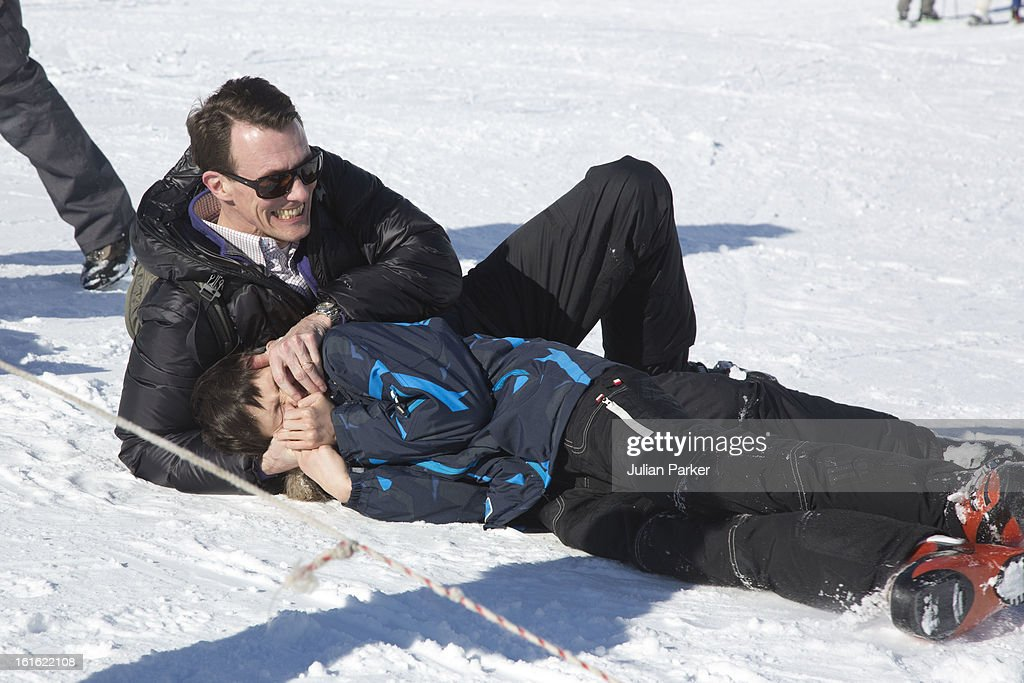 Prince Joachim of Denmarkand his son Prince Nikolai of Denmark pose during an annual family skiing holiday on February 13, 2013 in Villars-sur-Ollon, Switzerland.