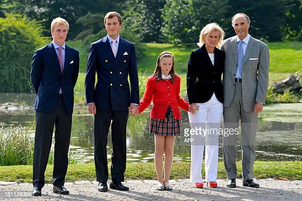 Prince Joachim Prince Amedeo Princess Laetitia Maria Princess Astrid of Belgium and Prince Lorenz of Belgium pose during a photoshoot of the Belgian...