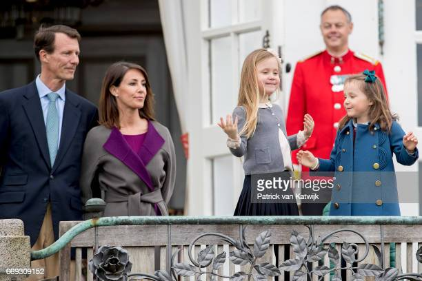 Prince Joachim Princess Marie Princess Isabella and Princess Athena of Denmark attend the 77th birthday celebrations of Danish Queen Margrethe at...