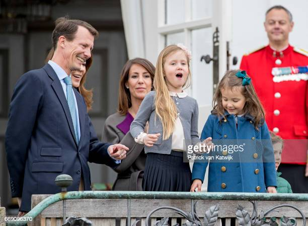 Prince Joachim Princess Marie Princess Isabella Princess Athena and Prince Henrik attend the 77th birthday celebrations of Danish Queen Margrethe at...