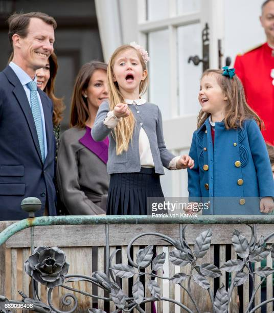 Prince Joachim Princess Marie Princess Josephine and Princess Athena of Denmark attend the 77th birthday celebrations of Danish Queen Margrethe at...