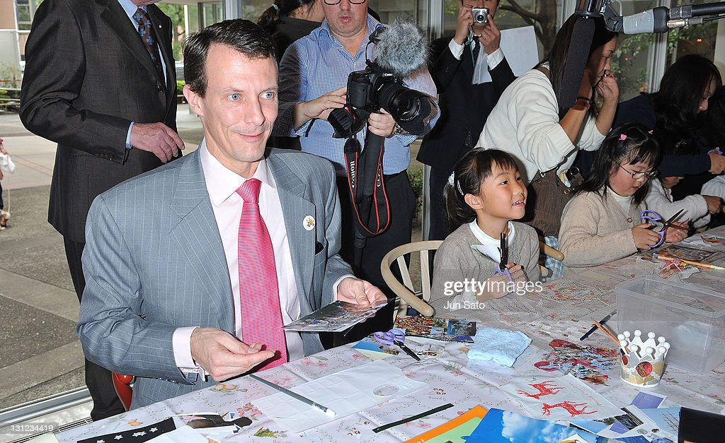 Prince Joachim visits the art workshop for the children affected by the tsunami on November 3, 2011 in Tokyo, Japan.