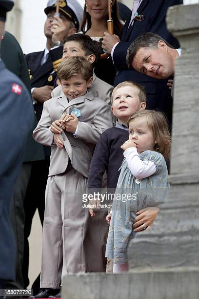 Prince Joachims Sons Prince Nikolai Ad Prince Felix With Prince Christian And Princess Isabella Of Denmark At Fredensborg Palace To Celebrate Prince...