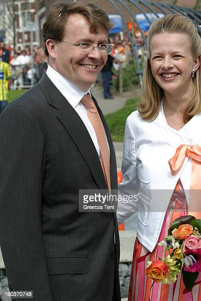 Prince Johan Friso and his wife Princess Mabel of the Netherlands attend the traditional Queens Day celebrations on April 30 2005 in Scheveningen...