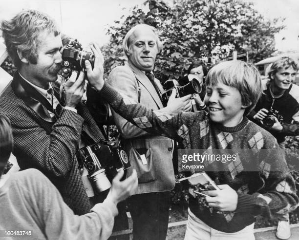 Prince Johan Friso joking with photographers as he returns to school in the Hague Holland 20th August 1981