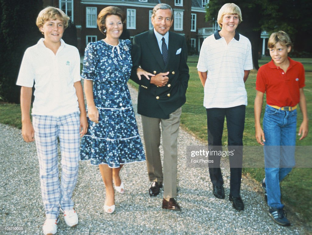 Prince Johan Friso, Queen Beatrix, Prince Claus, Prince Willem-Alexander and <a gi-track='captionPersonalityLinkClicked' href=/galleries/search?phrase=Prince+Constantijn+of+the+Netherlands&family=editorial&specificpeople=213971 ng-click='$event.stopPropagation()'>Prince Constantijn of the Netherlands</a> royal family circa 1980.