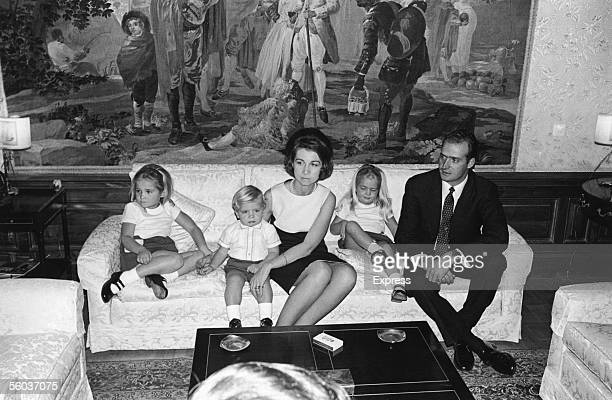 Prince Juan Carlos future King of Spain at home in the Palace of Zarzuela near Madrid with his wife Princess Sophia and their children Princess Elena...