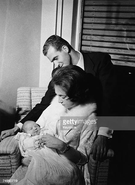 Prince Juan Carlos of Spain and his wife formerly Princess Sophia of Greece soon after the birth of their first child Infanta Elena in Madrid 23rd...