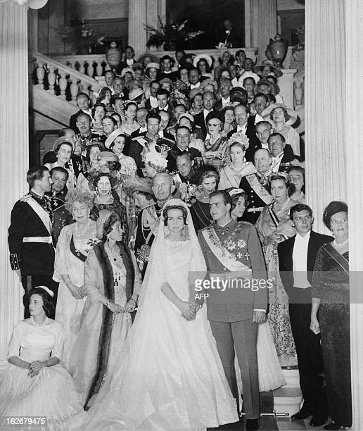 Prince Juan Carlos of Spain and his wife princess Sofia of Greece pictured 14 May 1962 in Athens during their wedding Juan Carlos' grandfather...