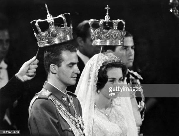 Prince Juan Carlos of Spain and his wife princess Sophia of Greece pictured 14 May 1962 in Athens during their wedding Juan Carlos' grandfather...