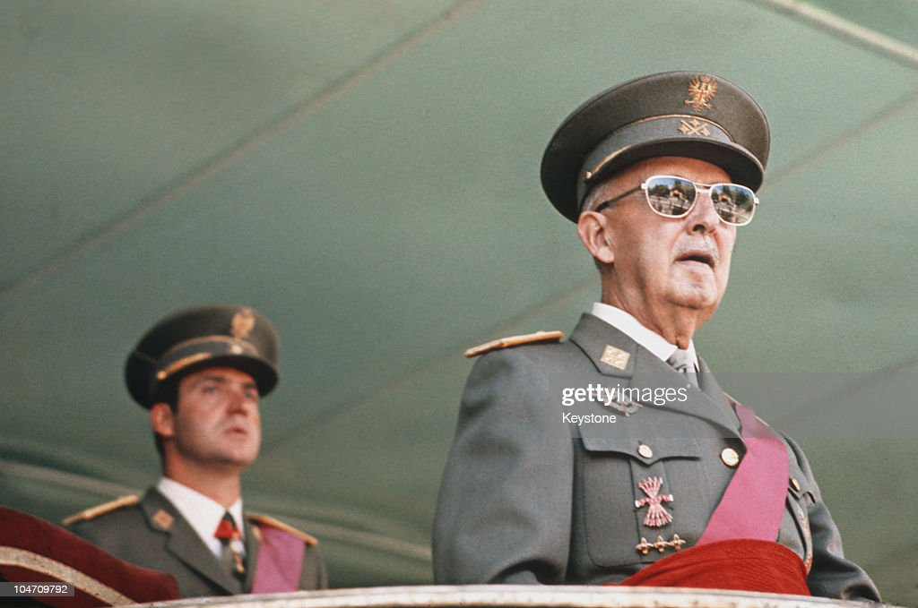 Prince Juan Carlos of Spain with dictator General <a gi-track='captionPersonalityLinkClicked' href=/galleries/search?phrase=Francisco+Franco&family=editorial&specificpeople=190209 ng-click='$event.stopPropagation()'>Francisco Franco</a> (1892 - 1975) in 1975.