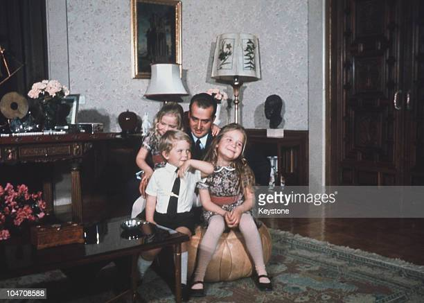 Prince Juan Carlos of Spain with his children Elena Felipe and Cristina in Madrid in 1971