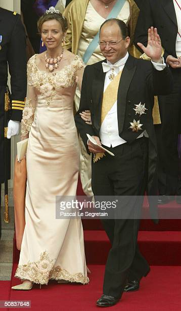 Prince Kardam of Bulgaria and his wife leave Copenhagen Cathedral after the wedding ceremony between Danish Crown Prince Frederik and his bride Crown...