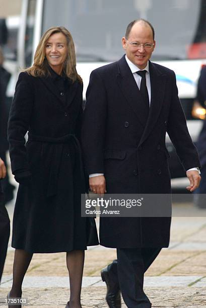 Prince Kardam of Bulgaria and his wife Miriam Ungria arrive at the Monsatery of El Escorial for the funeral of Princess Dona Beatriz January 20 2003...