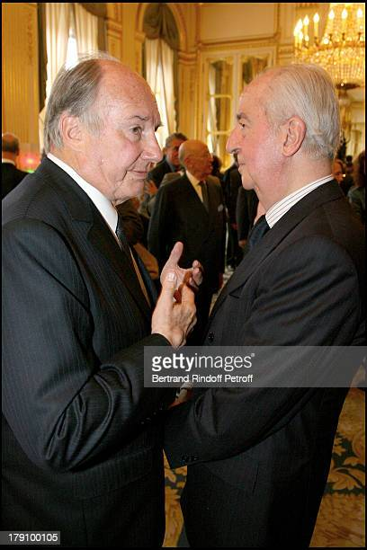 Prince Karim Aga Khan and Edouard Balladur at Christine Albanel Presents The 'Grand Patron' And 'Grand Donor' Award To His Highness The Aga Khan At...