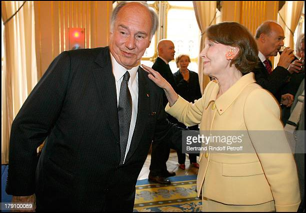 Prince Karim Aga Khan and Helene David Weil at Christine Albanel Presents The 'Grand Patron' And 'Grand Donor' Award To His Highness The Aga Khan At...