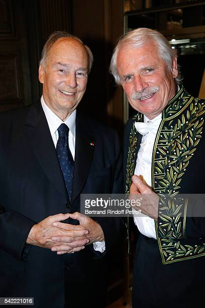 Prince Karim Aga Khan and Member of 'Academie des BeauxArts' photographer Yann ArthusBertrand attend Dominique Perrault becomes a Member of the...