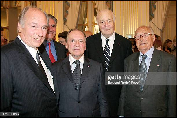 Prince Karim Aga Khan Gabriel De Broglie Arnaud D'Hauterives and Alain Decaux at Christine Albanel Presents The 'Grand Patron' And 'Grand Donor'...