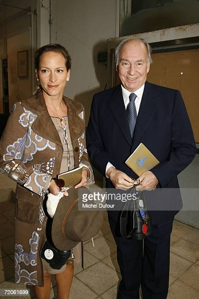 Prince Karim Aga Khan IV the hereditary Imam of the Shia Imami Ismaili Muslims and his daughter Princess Zahra Aga Khan attend the Prix de l'Arc de...